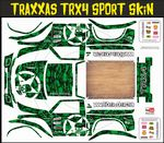 GREEN Gothic Skullz themed vinyl SKIN Kit & Stickers To Fit Traxxas TRX4 Sport R/C Rock Crawler